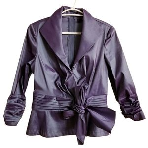 Tadashi Iridescent Faux Wrap Ruched Sleeves Top
